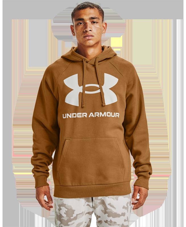 男士UA Rival Big Logo抓绒连帽上衣