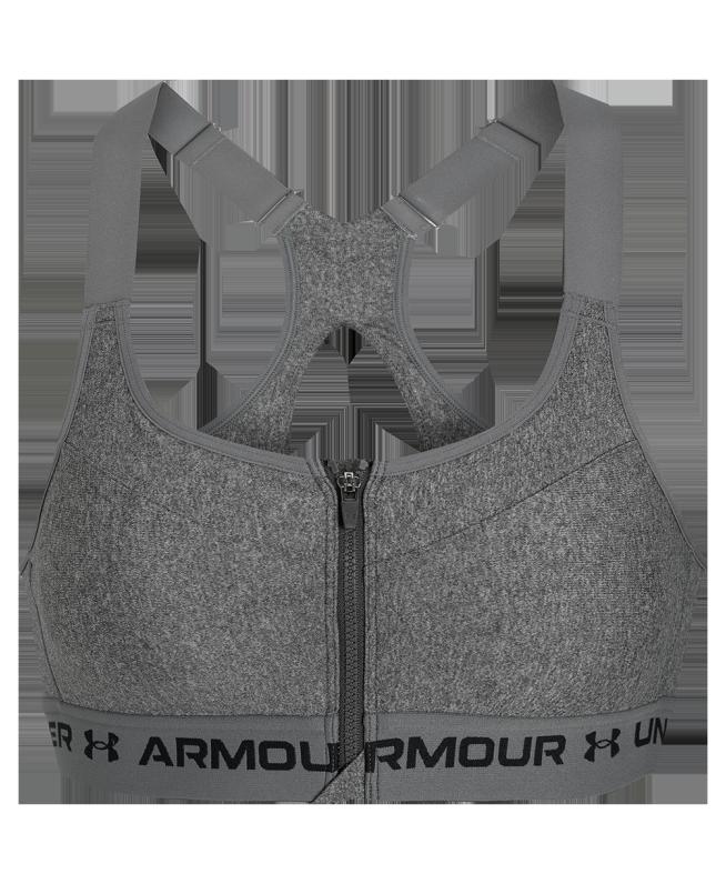 女士Armour Crossback Heather拉链运动内衣—高强度