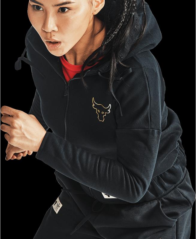 女士Project Rock CNY Charged Cotton®新春系列抓绒拉链衫