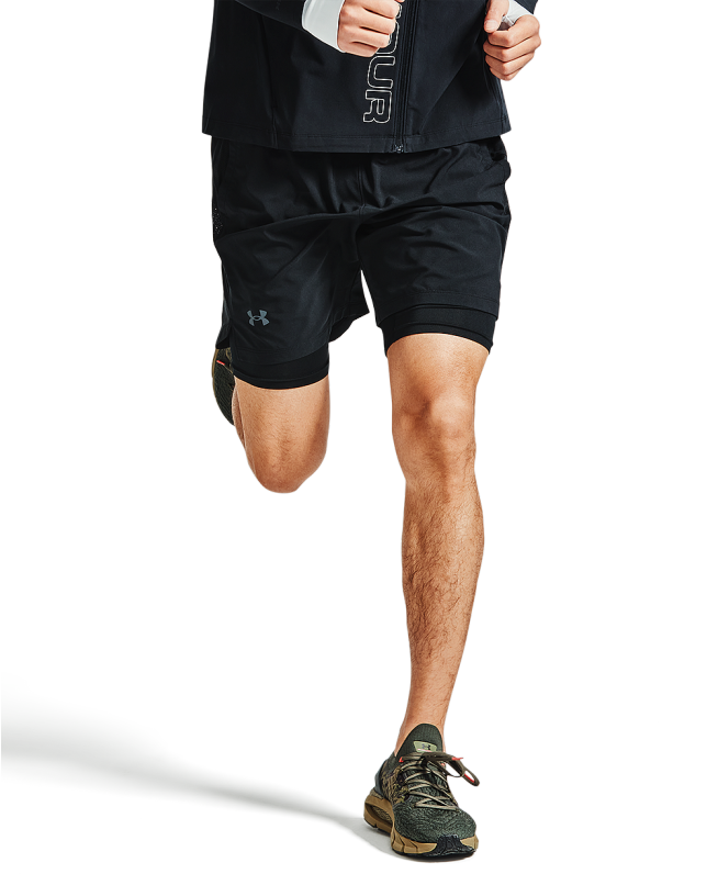 男士UA Launch二合一跑步短裤