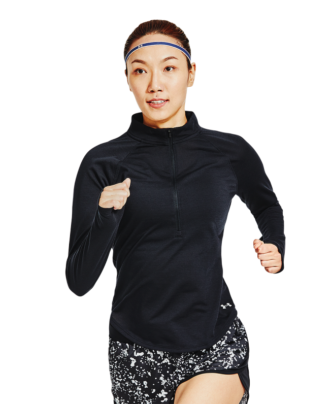 女士UA Streaker 1/2拉链跑步运动上衣