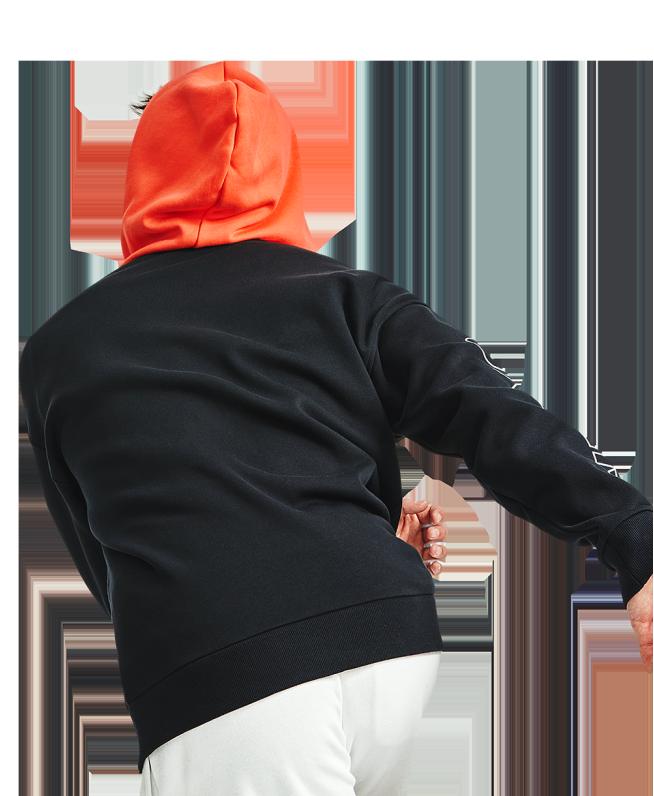男士UA Rival Colorblock抓绒拉链连帽上衣